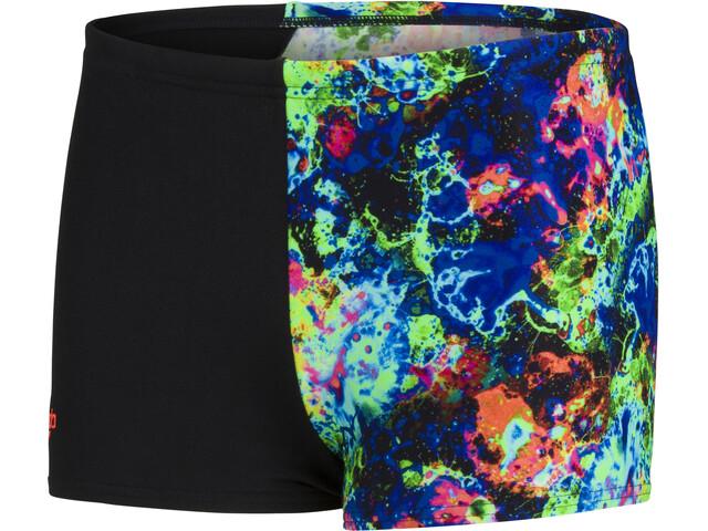 speedo Digital Placement Aquashorts Boys, bubble black/volcanic orange/lapis/cobalt/light adriatic